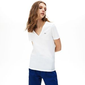 New Lacoste Women's V-neck t-shirt in soft jersey